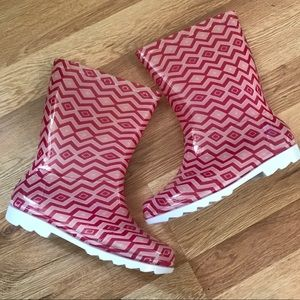 New Girls Toms Chevron Pink Rain boots Youth 3
